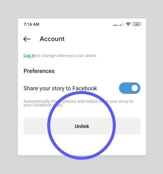 How To Unlink Facebook From Instagram — Click the Unlink button